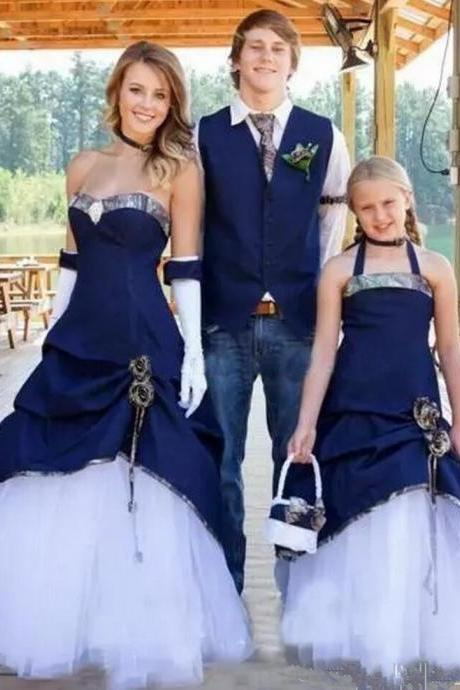 Royal Blue Halter Satin Elegant Flower Girl Dresses Lace Up Floor Length Party Gowns For Girls With Big Bow Pageant Dresses