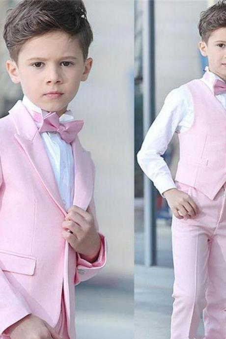 Boy 4 Pieces Pink Suit Wedding Tuxedos Peak Lapel One Button Boy Formal Wear Kids Suits for Prom Party Custom Made(Blazer+Pants+Vest+Bow Tie
