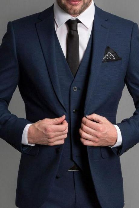 Navy Blue Formal Wedding Men Suits 2019 New Three Piece Notched Lapel Custom Made Business Groom Wedding Tuxedos (Jacket + Pants + Vest)