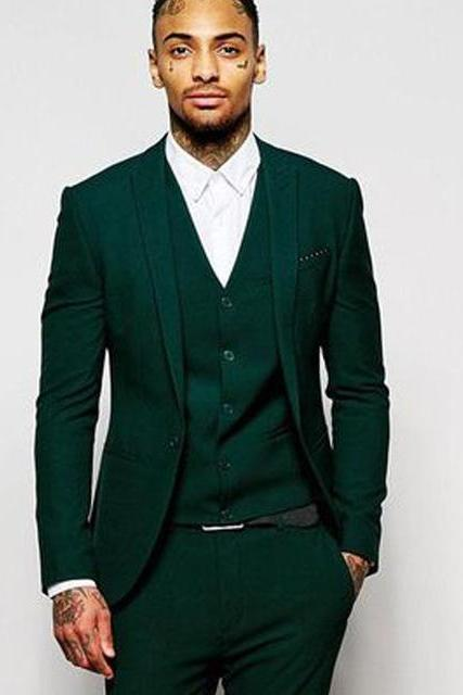 Dark Green Slim Fit Men Suits Peaked Lapel 3 Piece Jacket Pants Vest Male Blazer Custom Made Wedding Groomsmen Tuxedos for Prom Suits