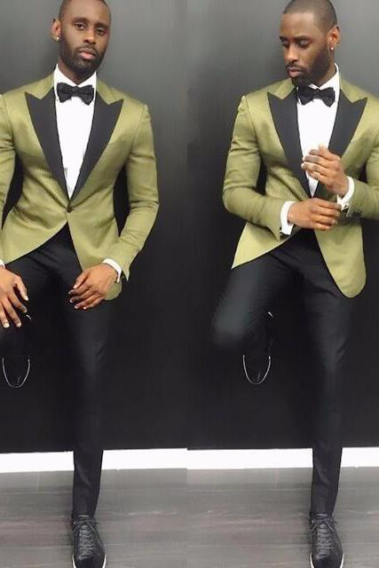 Stylish Young Men Suits 2017 Summer Notch Lapel Groom Wedding Tuxedos 2 Pieces Arm Green Satin Men Party Tuxedo With Black Pants