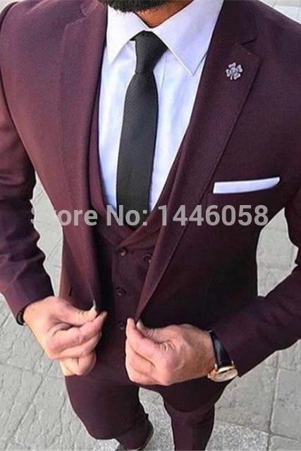 2019 Costume Homme 3 Pieces Mens Suits Slim Fit Burgundy Groom Dinner Prom Suit Male Tuxedos Business Mens Wedding Suits