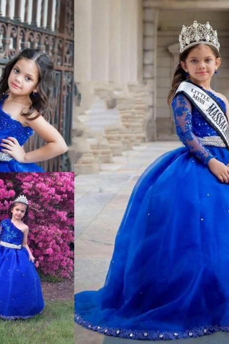 Royal Blue Little Girls Pageant Dresses One Shoulder Beads Long Sleeve Ball Gown Kids Formal Wear Lace Wedding Flower Girls Dress