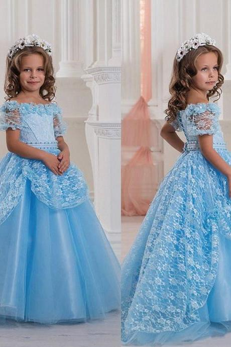 Ocean Blue Cap Sleeves Girls Pageant Dresses 2019 Ball Gown Off Shoulder Lace Appliques Beaded Long Kids Formal Party Wear Flower Girl Dress