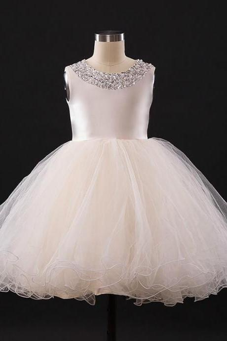 2019 Flower Girl dresses for Weddings Ivory Blue White Little toddler Kids Satin First Holy Communion Dresses Glitz Ball Gown Pageant Gown