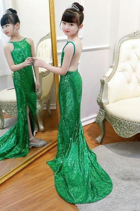 2019 New Shinning Sequin Girls Pageant Dresses First hloy Communion Dresses Backless Green Flower Girl Gowns Formal Party Dress