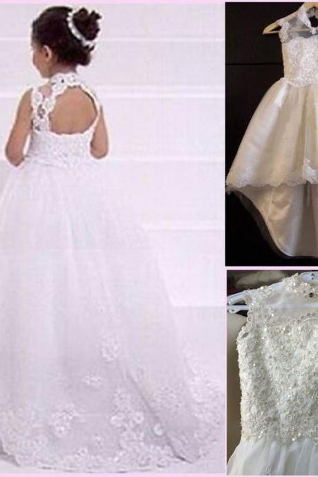 Charming 2019 A line Lace Girl Flower Dresses Backless High Neck Sweep Train Baby Formal Occasion First Communion Birthday Skirt Real Image