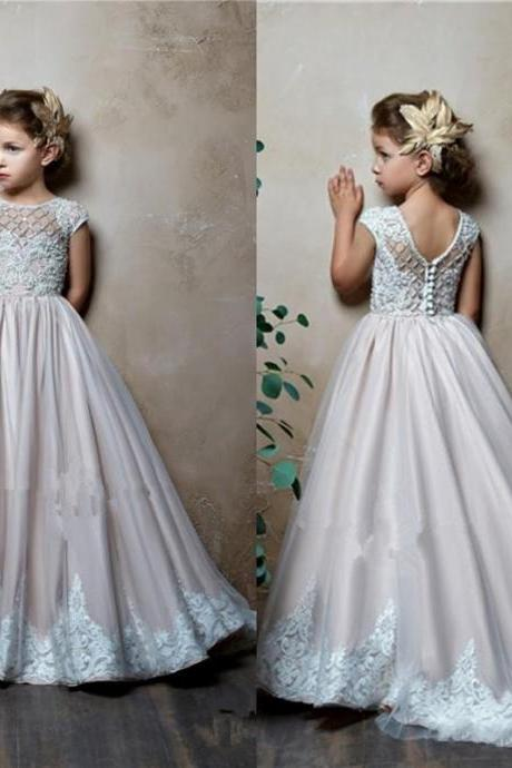 2019 Lovely A-Line Flower Girls Dresses For Wedding Jewel Neck Short Cap Sleeves Satin Lace Appliques Little Kids Holy First Communion Dress