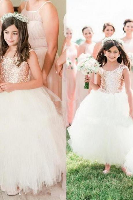 2019 Gorgeous Blush Rose Gold Sequins Wedding Party Flower Girls' Dresses Cap Sleeve Puffy Ball Gown Communion Little Girl Formal Dress