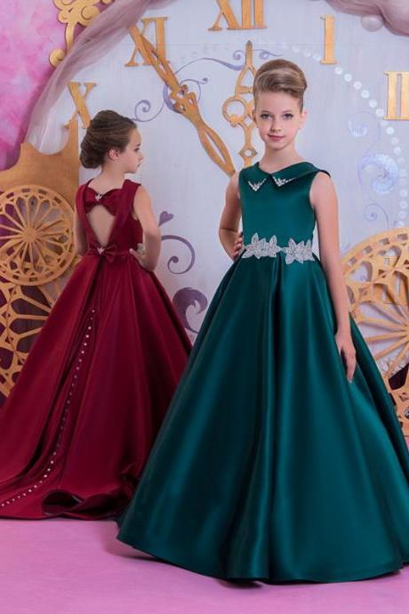 2019 High Quality Satin Little Girls Pageant Dresses Sweep Train Long Flower Girl Dress Kids Party Prom Wedding Gown Custom Made