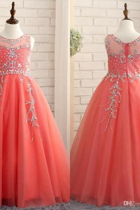 2019 Coral Girls Pageant Dresses Princess Puffy Ball Gown Tulle Jewel Crystal Beading Kids Flower Girls Dresses Birthday Gowns