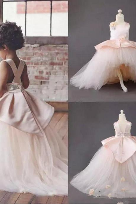 High Low Flower Girls Dresses Pink Jewel Handmade Flowers Satin And Tulle Girls Pageant Dress Lovely Kids Formal Wear Birthday Gowns