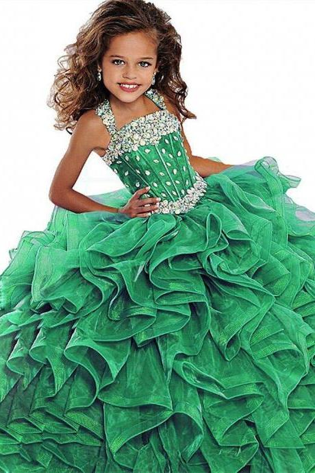 2019 Little Girls Pageant Dress Ball Gown Long Turquoise Organza Crystals Ruffled Flower Girls Birthday Party Dresses For Junior Green