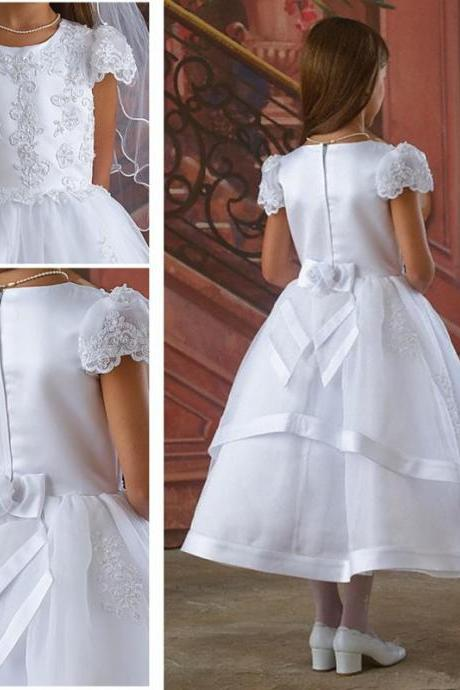 2019 White First Communion Dress Flower Girls' Dresses for Wedding With A-Line Capped Short Sleeve Bow Sash Appliques Lace Beads Tea-Length