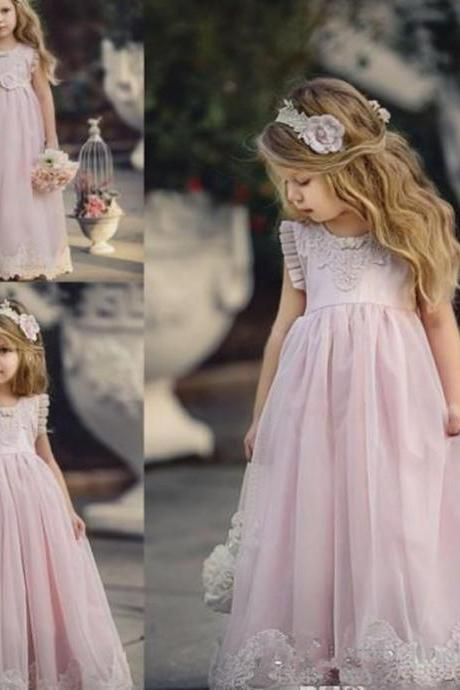 2019 Cheap Lovely Pink Jewel Neck Long Lace Boho Flower Girl Dresses Daughter Toddler Pretty Kids Pageant First Holy Communion Gown