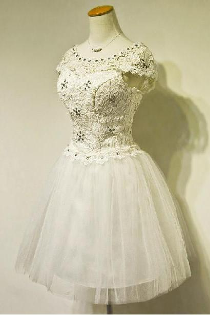 Short Bridal Wedding Dresses Formal Knee Length Beading Lace Crew Applique