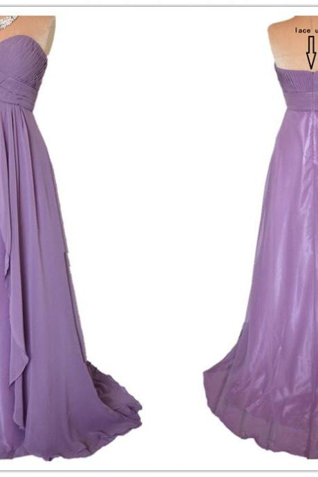 A Line Sexy Long Length Sweetheart Chiffon Evening Dress Prom Dress Custom Made Bridal Party Dress ll272