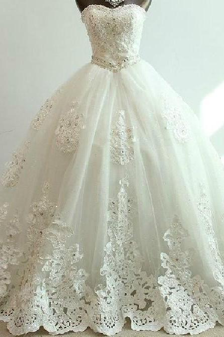 Long Ball Gown Lace Bridal Wedding Dresses Formal Chapel Length Beading Applique ll335
