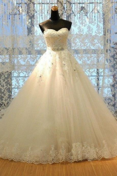 New Fashion Formal Applique Sweetheart Long Ball Gown Lace Bridal Wedding Dresses Formal Floor Length c24