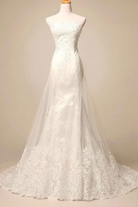 Party Formal Applique Long A Line Lace Bridal Wedding Dresses Formal Floor Length c31