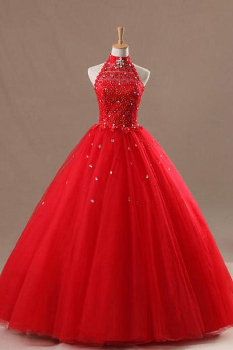 High Neck Halter Red Formal Applique Long Ball Gown Lace Bridal Wedding Dresses Formal Floor Length w505
