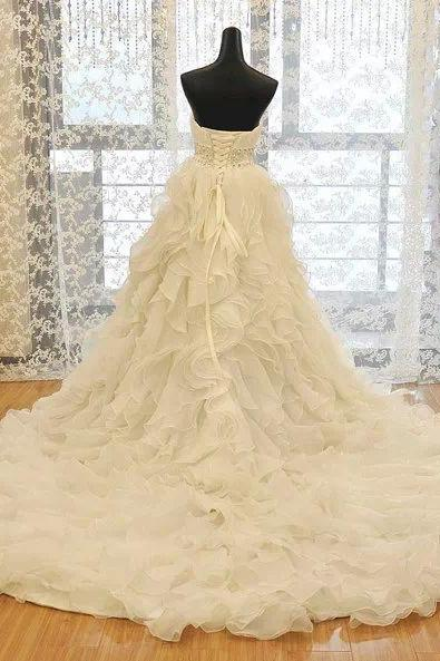 Formal Ruffle Sweetheart Long Ball Organza Crystal Bridal Wedding Dresses Formal Floor Length w566a