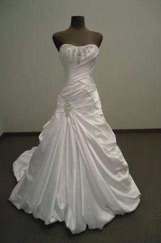 Formal Beading Sweetheart Long Train Ball Gown Satin Bridal Wedding Dresses Formal Floor Length c73