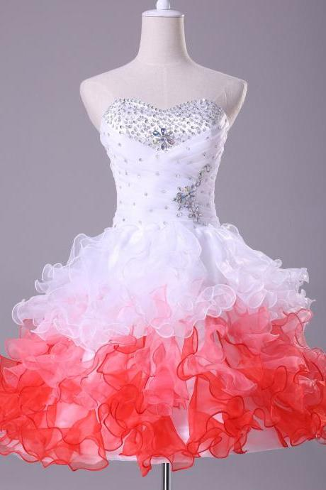 Homecoming Dress Ruffle Short Mini Sexy Beading Evening Dress Prom Dress Custom Made Bridal Party Dress xz87