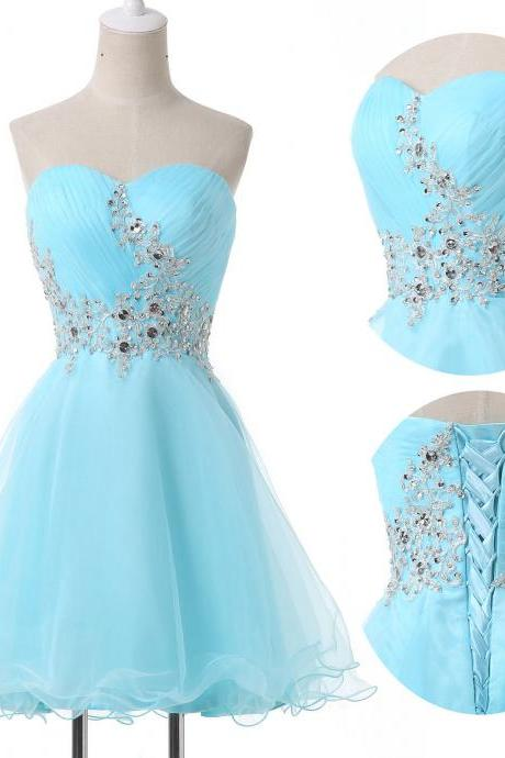 Sky Blue Homecoming Dress Cocktail Dress Short Mini Sexy Crystal Evening Dress Prom Dress Custom Made Bridal Party Dress xz103