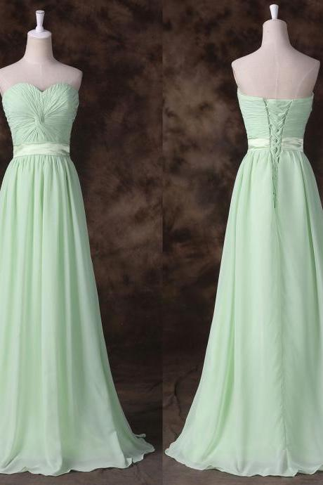 Light Green Bridesmaid Dress Simple Chiffon Long Evening Dress Prom Dress Custom Made Bridal Gown Party Dress xz105