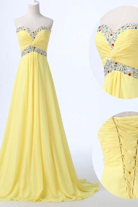 Bridesmaid Dress Sweetheart Chiffon Crystal Evening Dress Prom Dress Custom Made Bridal Party Dress xz129