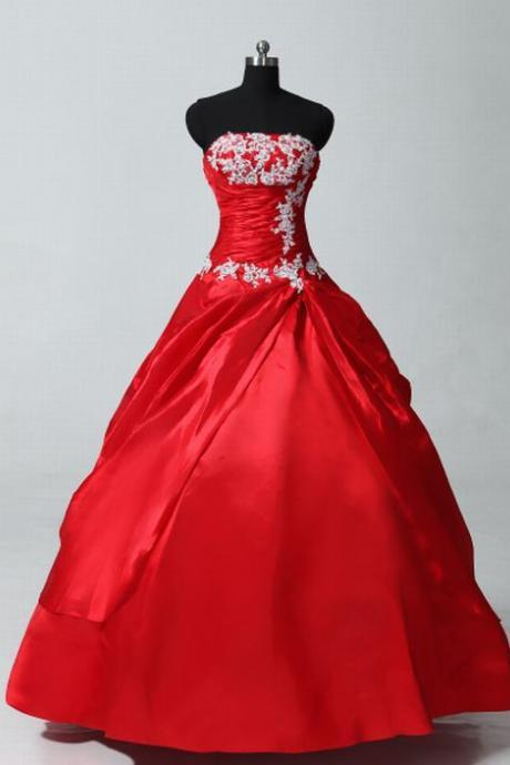Red Quinceanera Dress Wedding Gown Lace Ball Gown Evening Dress Prom Dress Custom Made Bridal Party Dress b02