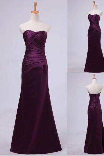 Long Mermaid Bridesmaid Dress Satin Evening Dress Prom Dress Custom Made Bridal Party Dress e28