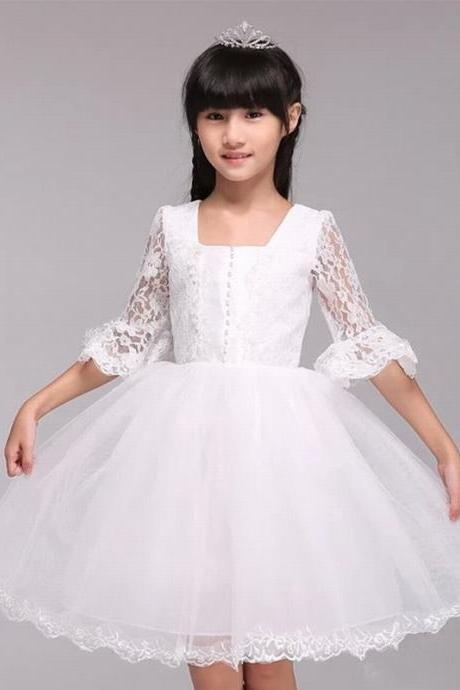 Formal Simple Flower Girl Dresses Half Sleeve Lace Ball Gown Kids Wedding Party Dresses 0425-28