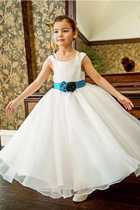 Formal Simple Flower Girl Dresses Long Tulle Ball Gown Kids Wedding Party Dresses 0425-39