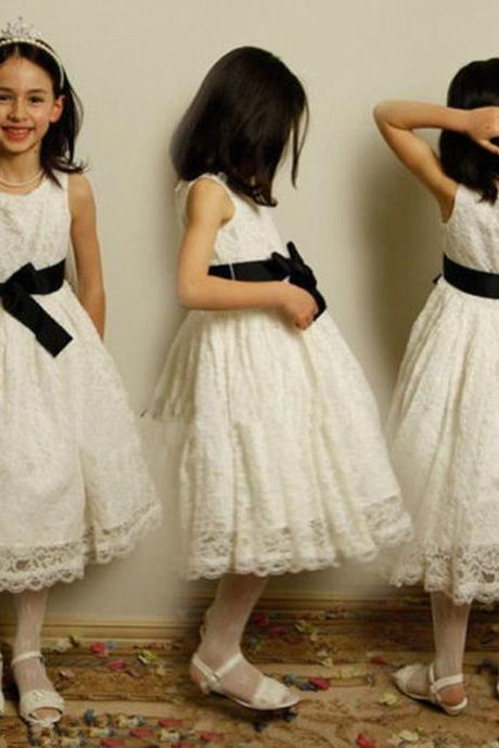 Formal Tea Length Flower Girl Dresses Lace Kids Wedding Party Dresses 0502-07