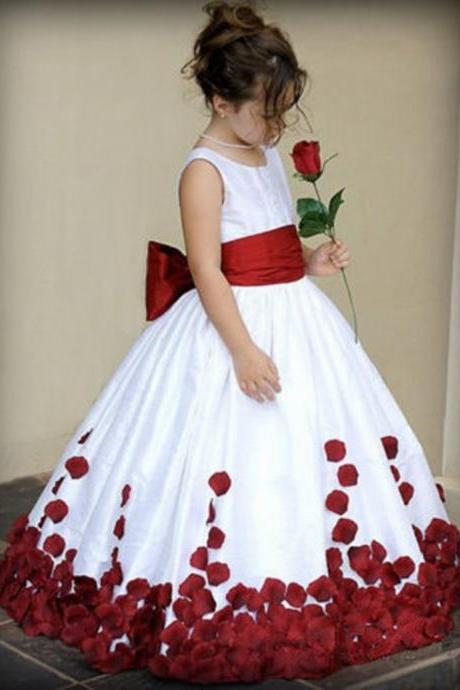 Formal Floor Length Flower Girl Dresses with Bows Ball Gown Kids Wedding Party Dresses 0502-08