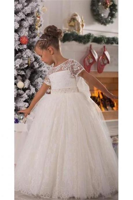Short Sleeve Formal Floor Length Flower Girl Dresses Children Birthday Dress Lace Kids Wedding Party Dresses 1103-02