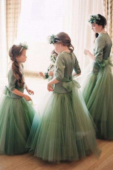 Half Sleeve Long Flower Girl Dresses Children Birthday Dress Tulle Kids Wedding Party Dresses 1103-28