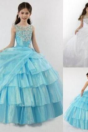 Formal Long Flower Girl Dresses Children Birthday Dress Ball Gown Crystal Kids Wedding Party Dresses 1103-33