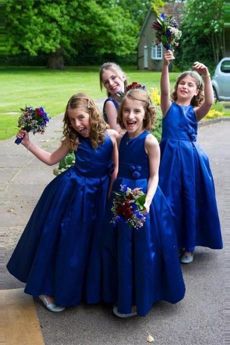 Ball Gown Flower Girl Dresses Children Birthday Dress Satin Kids Wedding Party Dresses 1103-72