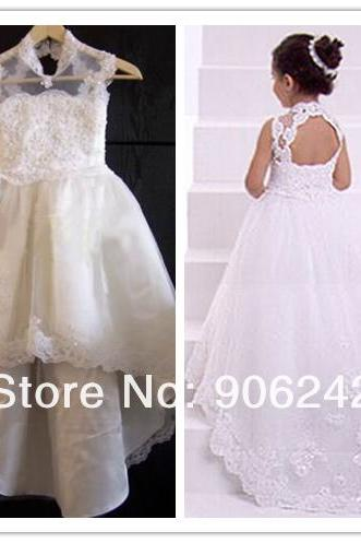 Backless Long Train Flower Girl Dresses Children Birthday Dress Lace Kids Wedding Party Dresses WLJ20