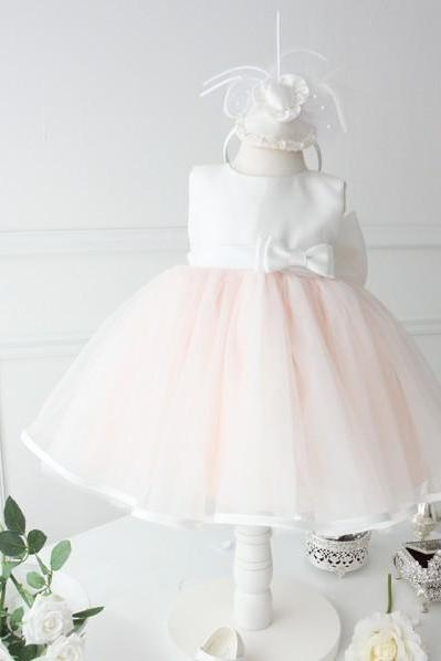 New Fashion Tea Length Flower Girl Dresses Children Birthday Dress Simple Satin Kids Wedding Party Dresses WLJ93