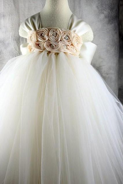 Cap Sleeve Tea Length Flower Girl Dresses Children Birthday Dress Tulle Kids Wedding Party Dresses WLJ101