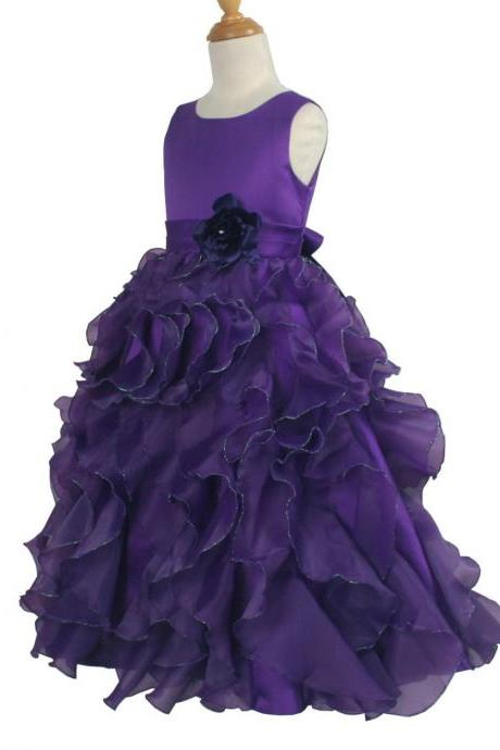 Purple Ruffle Floor Length Flower Girl Dresses Children Birthday Dress Organza Kids Wedding Party Dresses WLJ128