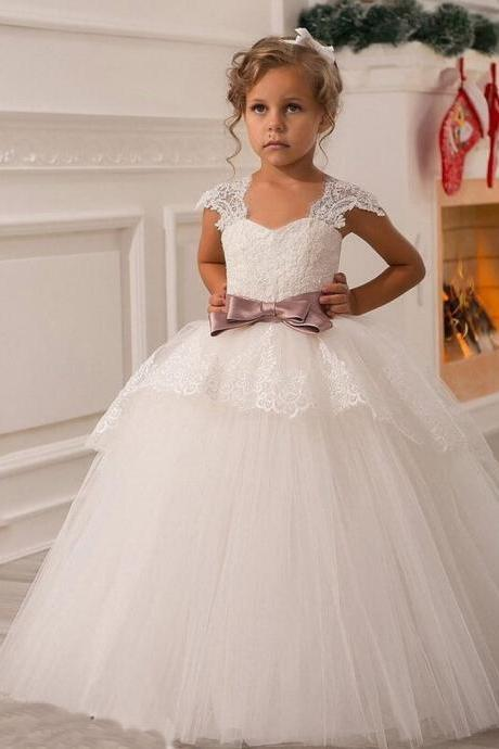 Ball Gown Floor Length Flower Girl Dresses Children Birthday Dress Cap Sleeve Lace Tulle Kids Wedding Party Dresses 1028-01