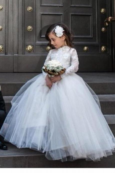 Long Sleeve Floor Length Flower Girl Dresses Children Birthday Dress Lace Applique Kids Wedding Party Dresses 1028-14