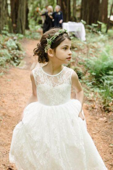 A Line Floor Length Flower Girl Dresses Children Birthday Dress Lace Kids Wedding Party Dresses 1028-16