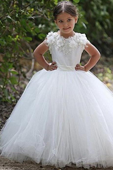 Floor Length Ball Gown Flower Girl Dresses Children Birthday Dress Tulle Kids Wedding Party Dresses 1028-20