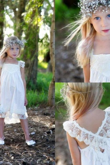 Short Flower Girl Dresses Children Birthday Dress Lace Kids Wedding Party Dresses 1028-24